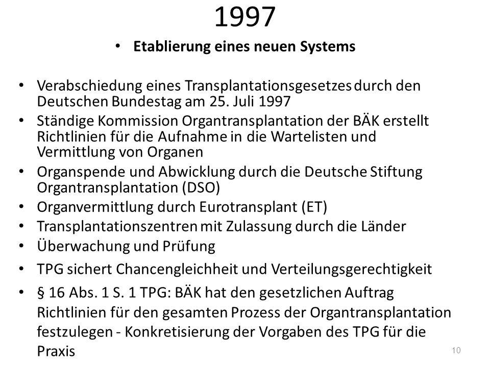 1997 Etablierung eines neuen Systems Verabschiedung eines Transplantationsgesetzes durch den Deutschen Bundestag am 25. Juli 1997 Ständige Kommission