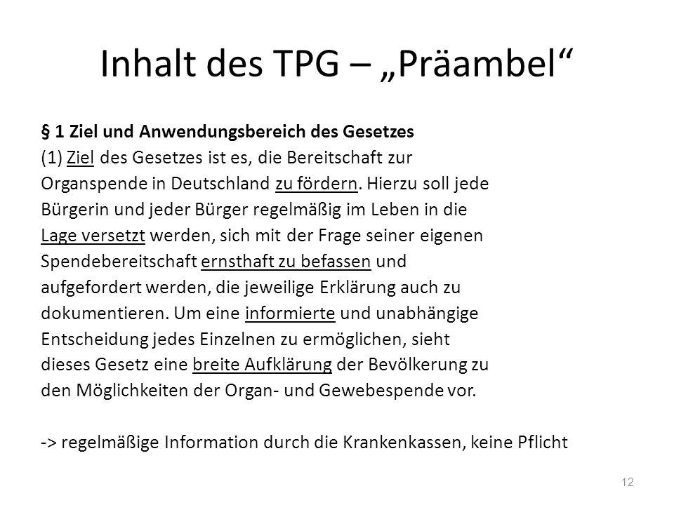 """Inhalt des TPG – """"Präambel § 1 Ziel und Anwendungsbereich des Gesetzes (1) Ziel des Gesetzes ist es, die Bereitschaft zur Organspende in Deutschland zu fördern."""