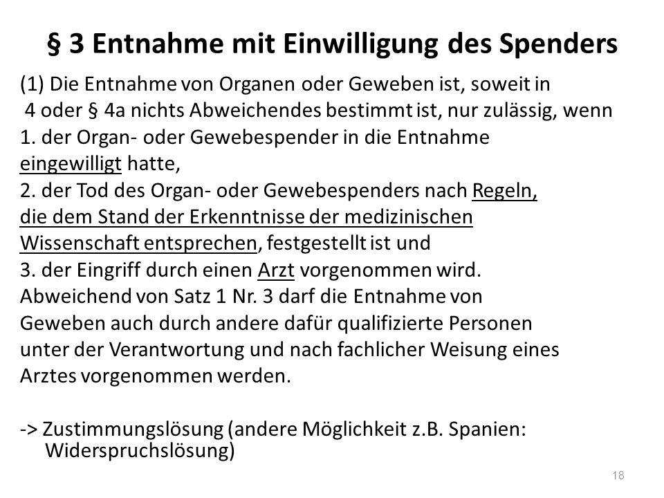 § 3 Entnahme mit Einwilligung des Spenders (1) Die Entnahme von Organen oder Geweben ist, soweit in 4 oder § 4a nichts Abweichendes bestimmt ist, nur