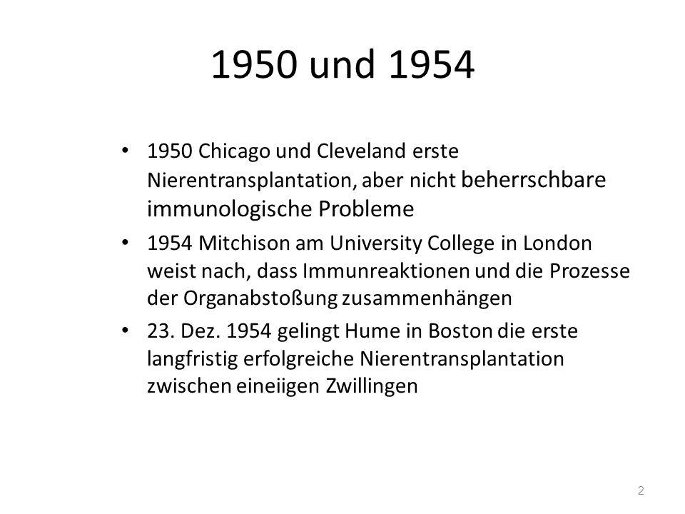 1950 und 1954 1950 Chicago und Cleveland erste Nierentransplantation, aber nicht beherrschbare immunologische Probleme 1954 Mitchison am University College in London weist nach, dass Immunreaktionen und die Prozesse der Organabstoßung zusammenhängen 23.