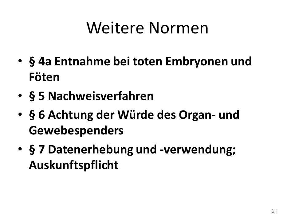 Weitere Normen § 4a Entnahme bei toten Embryonen und Föten § 5 Nachweisverfahren § 6 Achtung der Würde des Organ- und Gewebespenders § 7 Datenerhebung