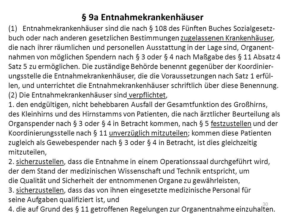 § 9a Entnahmekrankenhäuser (1)Entnahmekrankenhäuser sind die nach § 108 des Fünften Buches Sozialgesetz- buch oder nach anderen gesetzlichen Bestimmungen zugelassenen Krankenhäuser, die nach ihrer räumlichen und personellen Ausstattung in der Lage sind, Organent- nahmen von möglichen Spendern nach § 3 oder § 4 nach Maßgabe des § 11 Absatz 4 Satz 5 zu ermöglichen.
