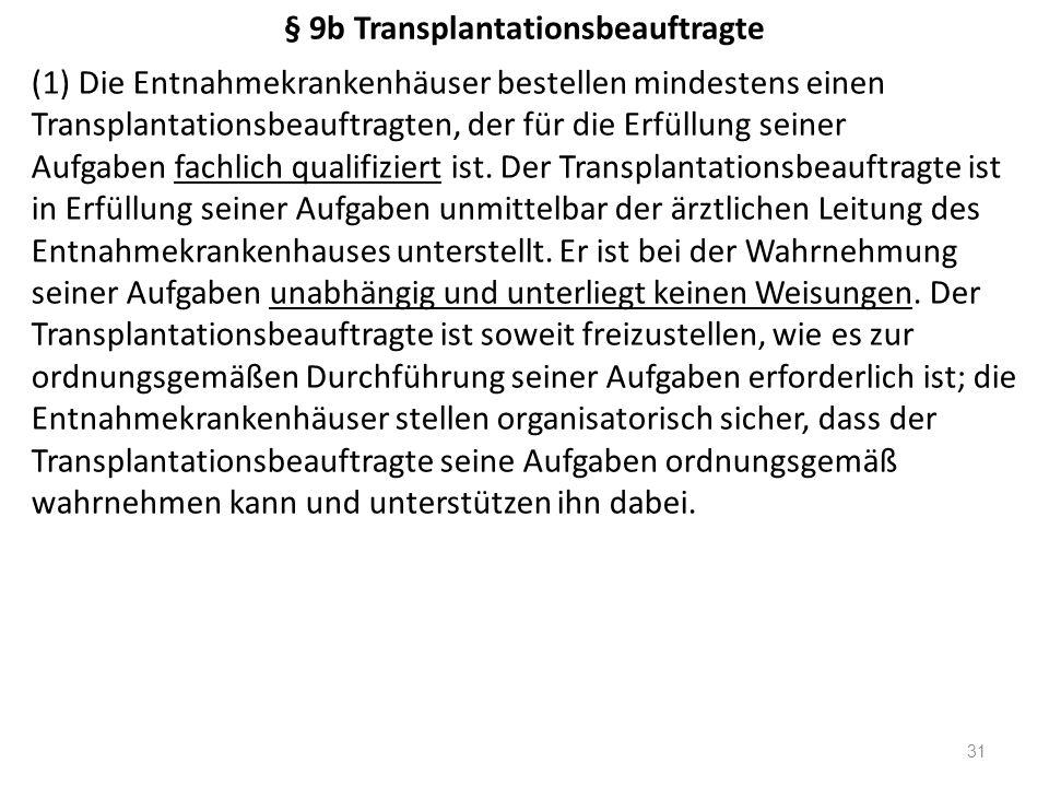 § 9b Transplantationsbeauftragte (1) Die Entnahmekrankenhäuser bestellen mindestens einen Transplantationsbeauftragten, der für die Erfüllung seiner Aufgaben fachlich qualifiziert ist.