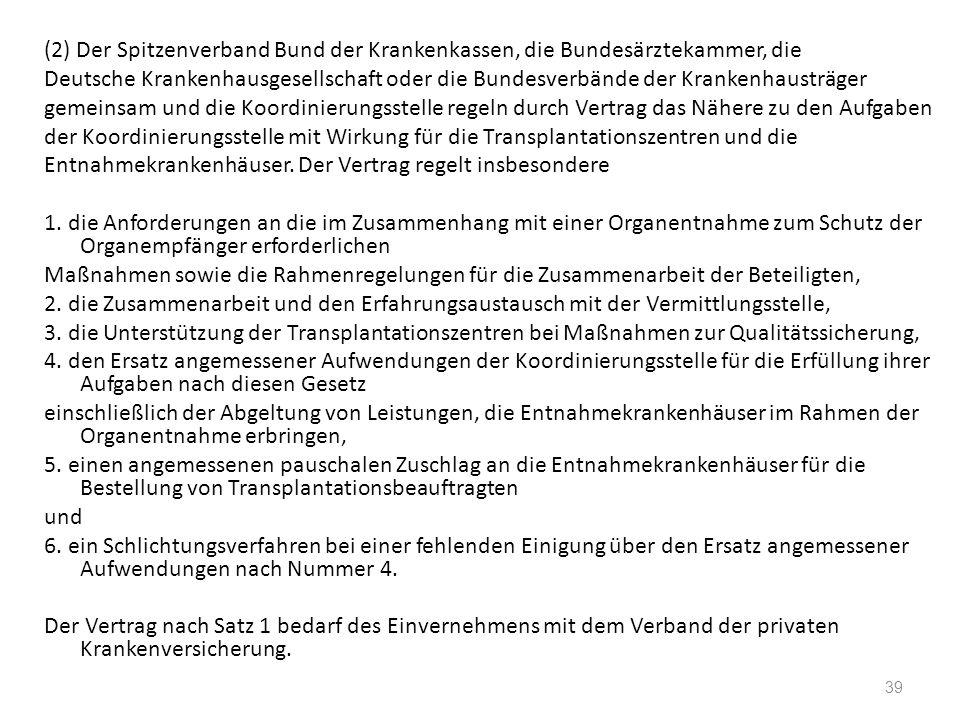 (2) Der Spitzenverband Bund der Krankenkassen, die Bundesärztekammer, die Deutsche Krankenhausgesellschaft oder die Bundesverbände der Krankenhausträg