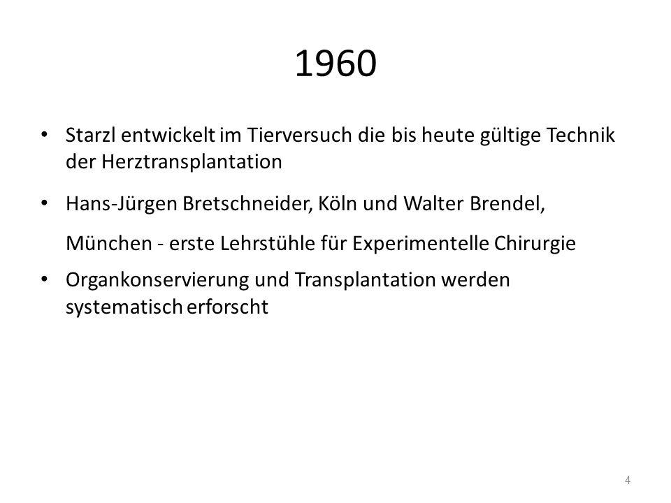 1960 Starzl entwickelt im Tierversuch die bis heute gültige Technik der Herztransplantation Hans-Jürgen Bretschneider, Köln und Walter Brendel, München - erste Lehrstühle für Experimentelle Chirurgie Organkonservierung und Transplantation werden systematisch erforscht 4