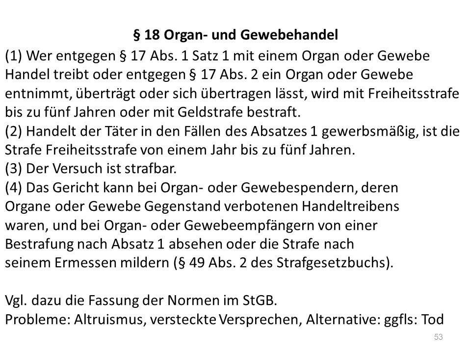 § 18 Organ- und Gewebehandel (1) Wer entgegen § 17 Abs. 1 Satz 1 mit einem Organ oder Gewebe Handel treibt oder entgegen § 17 Abs. 2 ein Organ oder Ge