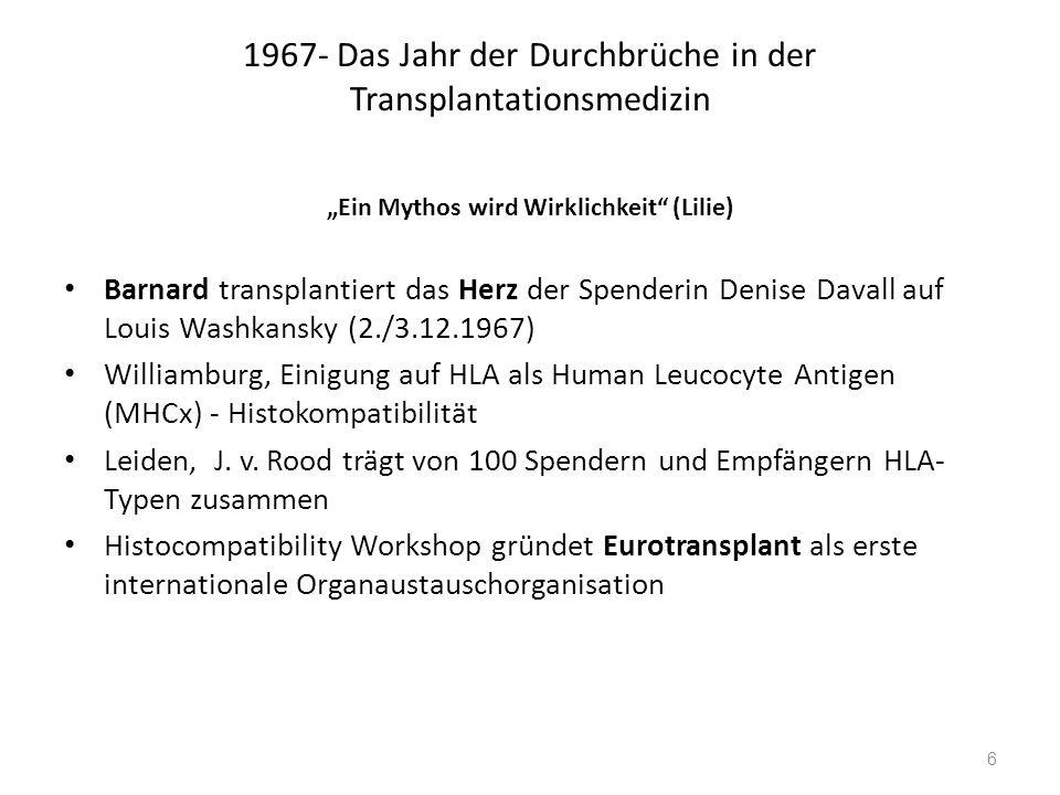 """1967- Das Jahr der Durchbrüche in der Transplantationsmedizin """"Ein Mythos wird Wirklichkeit"""" (Lilie) Barnard transplantiert das Herz der Spenderin Den"""