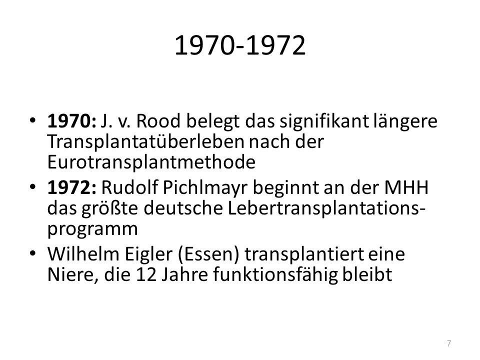 1970-1972 1970: J. v. Rood belegt das signifikant längere Transplantatüberleben nach der Eurotransplantmethode 1972: Rudolf Pichlmayr beginnt an der M