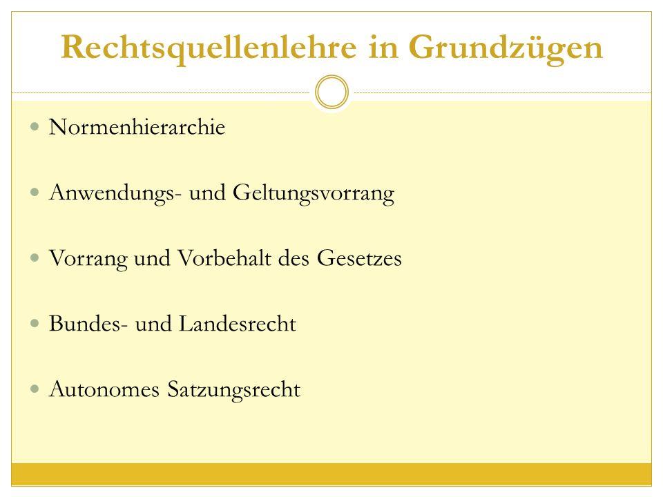 Rechtsquellenlehre in Grundzügen Normenhierarchie Anwendungs- und Geltungsvorrang Vorrang und Vorbehalt des Gesetzes Bundes- und Landesrecht Autonomes Satzungsrecht