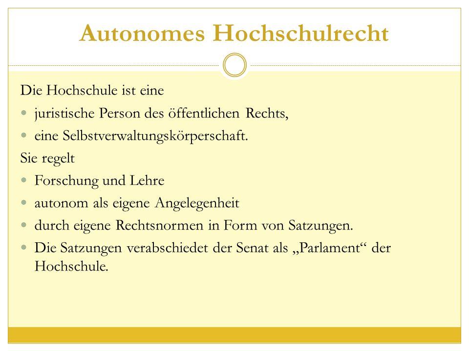 Autonomes Hochschulrecht Die Hochschule ist eine juristische Person des öffentlichen Rechts, eine Selbstverwaltungskörperschaft.