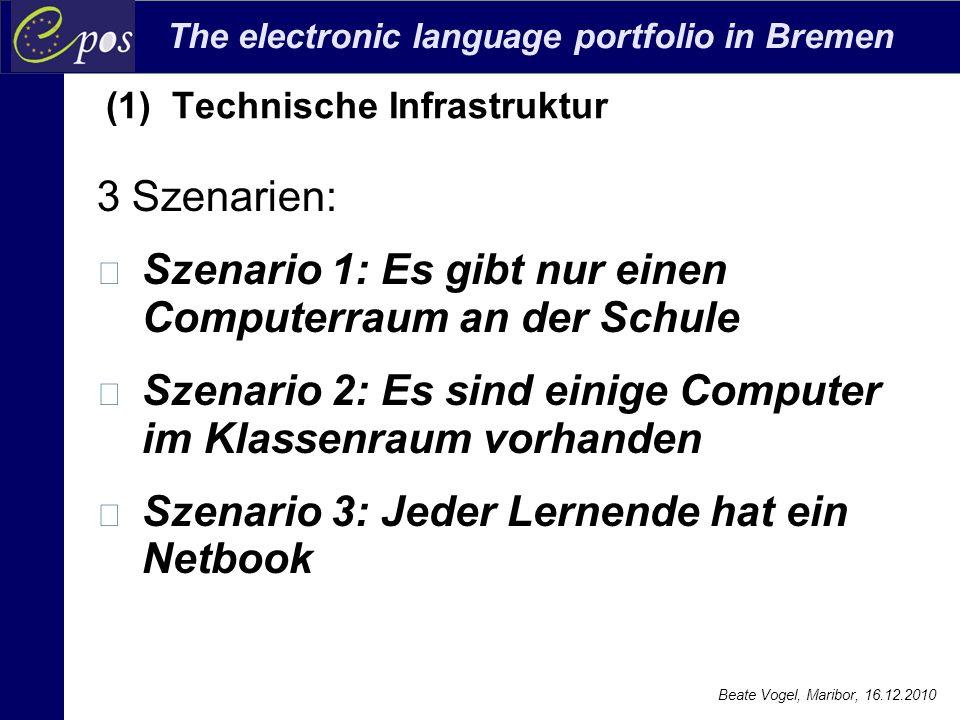 The electronic language portfolio in Bremen Beate Vogel, Maribor, 16.12.2010 3 Szenarien: Szenario 1: Es gibt nur einen Computerraum an der Schule Sze