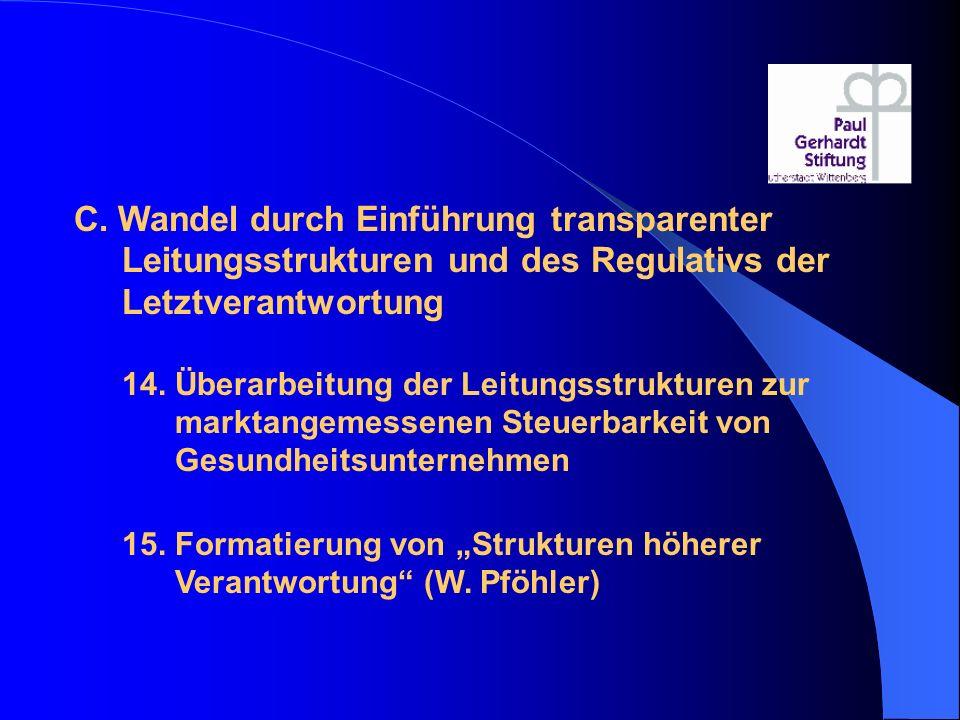 C. Wandel durch Einführung transparenter Leitungsstrukturen und des Regulativs der Letztverantwortung 14. Überarbeitung der Leitungsstrukturen zur mar
