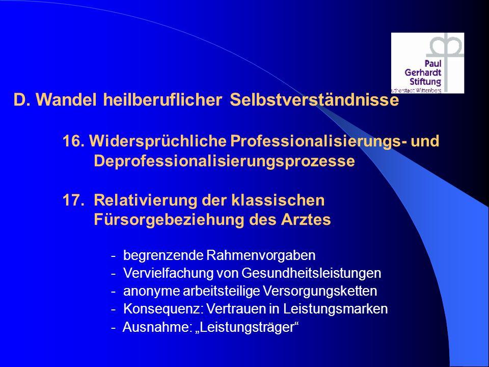 D. Wandel heilberuflicher Selbstverständnisse 16. Widersprüchliche Professionalisierungs- und Deprofessionalisierungsprozesse 17. Relativierung der kl