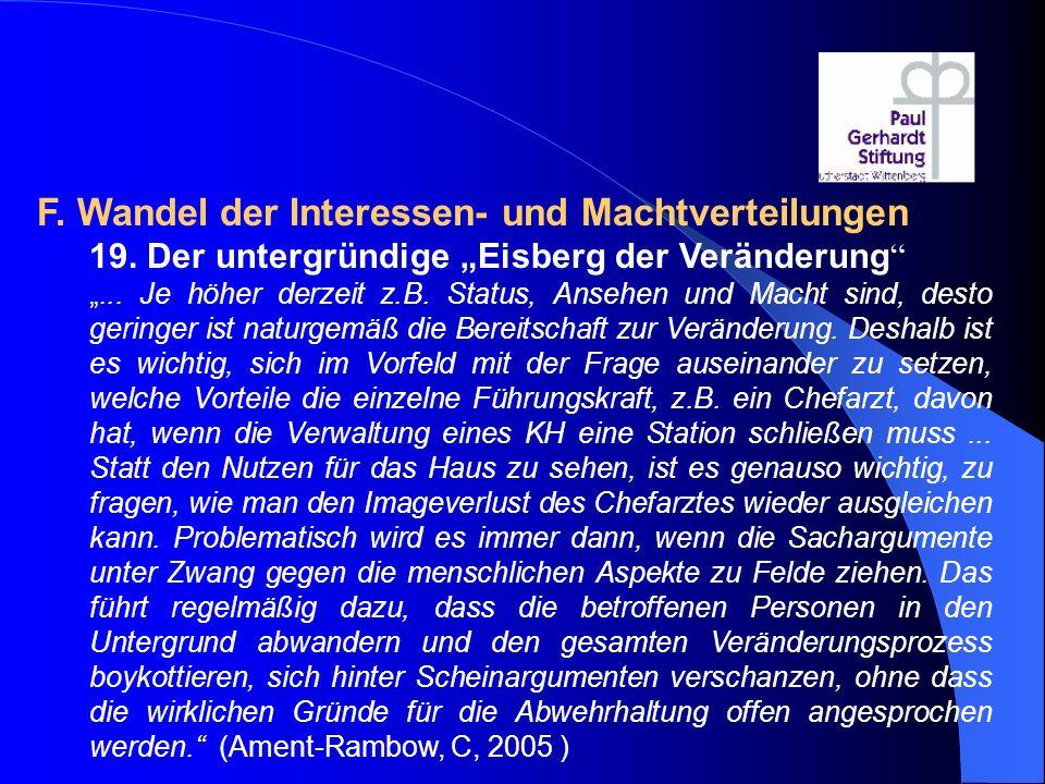 """F. Wandel der Interessen- und Machtverteilungen 19. Der untergründige """"Eisberg der Veränderung """" """"... Je höher derzeit z.B. Status, Ansehen und Macht"""