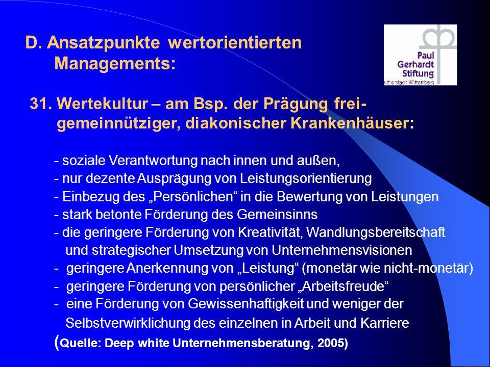 D. Ansatzpunkte wertorientierten Managements: 31. Wertekultur – am Bsp. der Prägung frei- gemeinnütziger, diakonischer Krankenhäuser: - soziale Verant