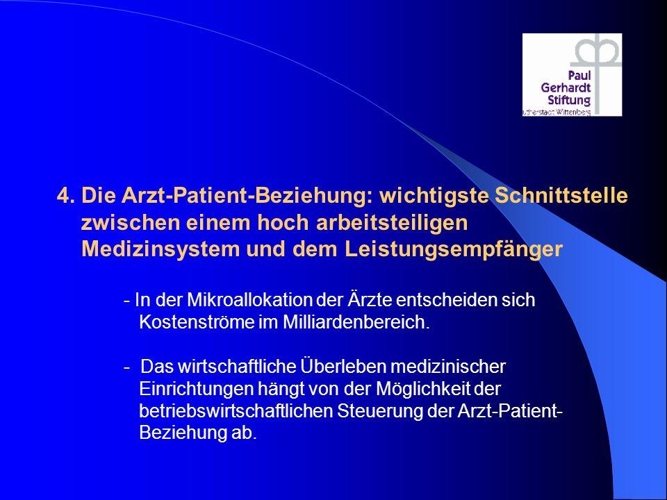 4. Die Arzt-Patient-Beziehung: wichtigste Schnittstelle zwischen einem hoch arbeitsteiligen Medizinsystem und dem Leistungsempfänger - In der Mikroall