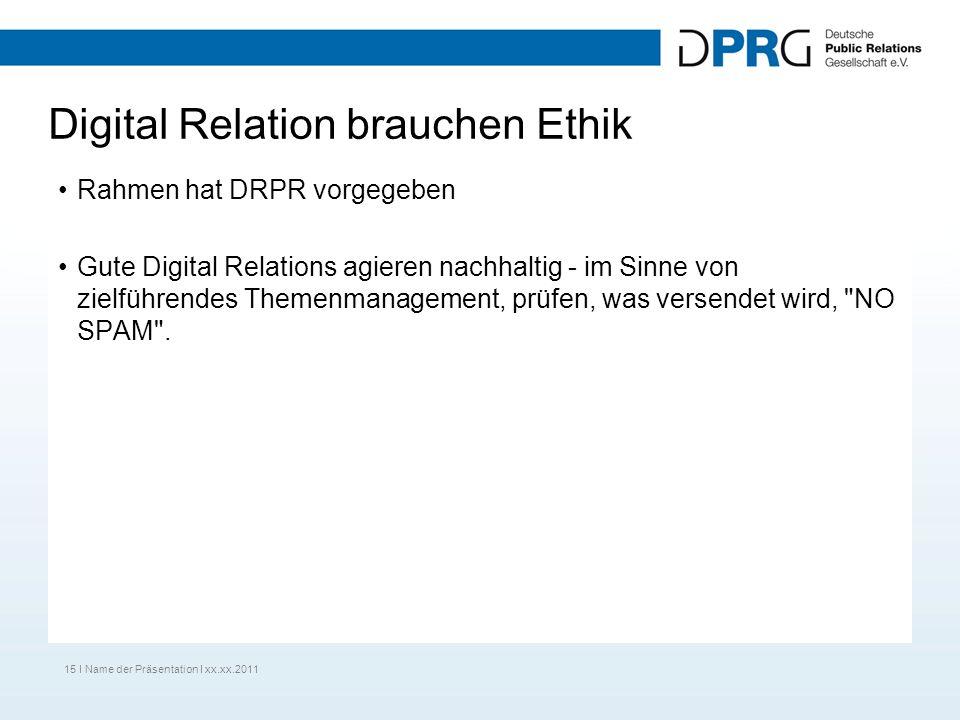 Digital Relation brauchen Ethik Rahmen hat DRPR vorgegeben Gute Digital Relations agieren nachhaltig - im Sinne von zielführendes Themenmanagement, prüfen, was versendet wird, NO SPAM .