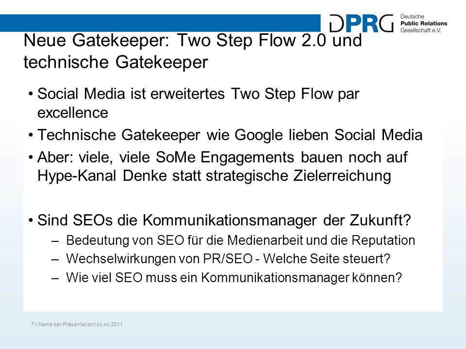 Neue Gatekeeper: Two Step Flow 2.0 und technische Gatekeeper Social Media ist erweitertes Two Step Flow par excellence Technische Gatekeeper wie Google lieben Social Media Aber: viele, viele SoMe Engagements bauen noch auf Hype-Kanal Denke statt strategische Zielerreichung Sind SEOs die Kommunikationsmanager der Zukunft.
