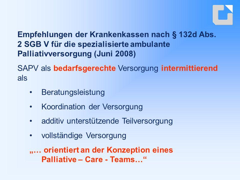 """SAPV als bedarfsgerechte Versorgung intermittierend als Beratungsleistung Koordination der Versorgung additiv unterstützende Teilversorgung vollständige Versorgung """"… orientiert an der Konzeption eines Palliative – Care - Teams… Empfehlungen der Krankenkassen nach § 132d Abs."""