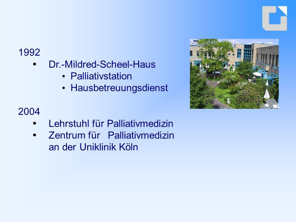 1992 Dr.-Mildred-Scheel-Haus Palliativstation Hausbetreuungsdienst 2004 Lehrstuhl für Palliativmedizin Zentrum für Palliativmedizin an der Uniklinik Köln