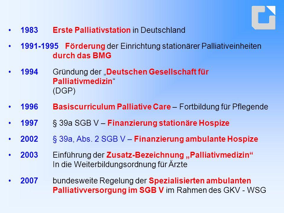 Ambulante Palliativmedizinische und palliativpflegerische Versorgung in Nordrhein - Westfalen  Rahmenprogramm zur flächendeckenden Umsetzung der ambulanten palliativmedizinischen und palliativpflegerischen Versorgung in NRW - kooperatives integratives Versorgungskonzept (Mai 2005)  Versorgungsvertrag über die ambulante palliativpflegerische Versorgung nach § 132 a Abs.