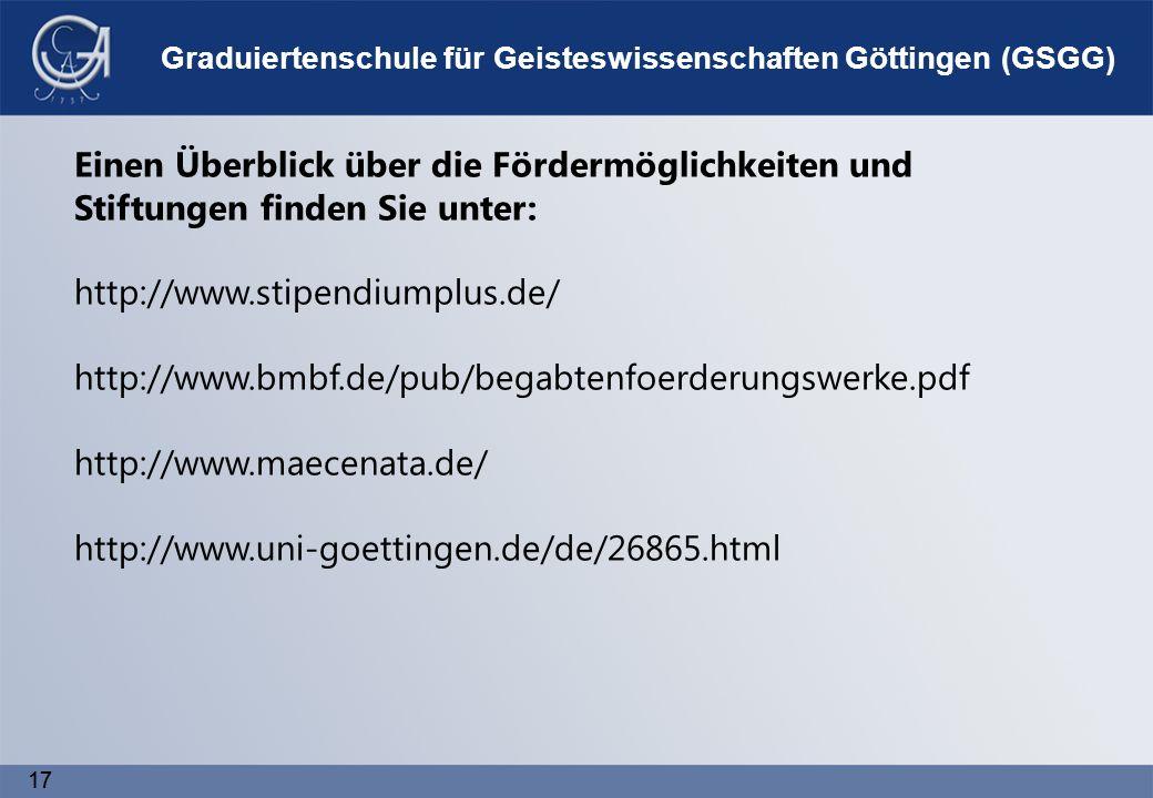 17 Graduiertenschule für Geisteswissenschaften Göttingen (GSGG) Einen Überblick über die Fördermöglichkeiten und Stiftungen finden Sie unter: http://www.stipendiumplus.de/ http://www.bmbf.de/pub/begabtenfoerderungswerke.pdf http://www.maecenata.de/ http://www.uni-goettingen.de/de/26865.html