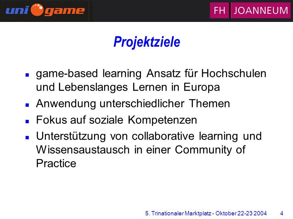 5. Trinationaler Marktplatz - Oktober 22-23 2004 4 Zentrum für Multimediales Lernen Projektziele n game-based learning Ansatz für Hochschulen und Lebe