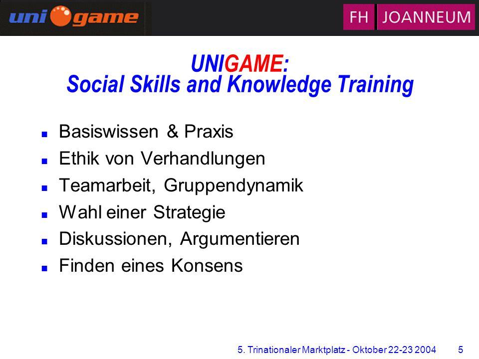 5. Trinationaler Marktplatz - Oktober 22-23 2004 5 Zentrum für Multimediales Lernen UNIGAME: Social Skills and Knowledge Training n Basiswissen & Prax