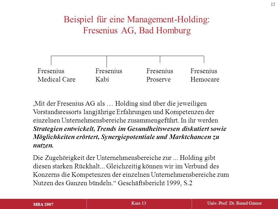 """MBA 2006Kurs 13Univ.-Prof. Dr. Bernd Günter MBA 2007 Beispiel für eine Management-Holding: Fresenius AG, Bad Homburg """" Mit der Fresenius AG als … Hold"""