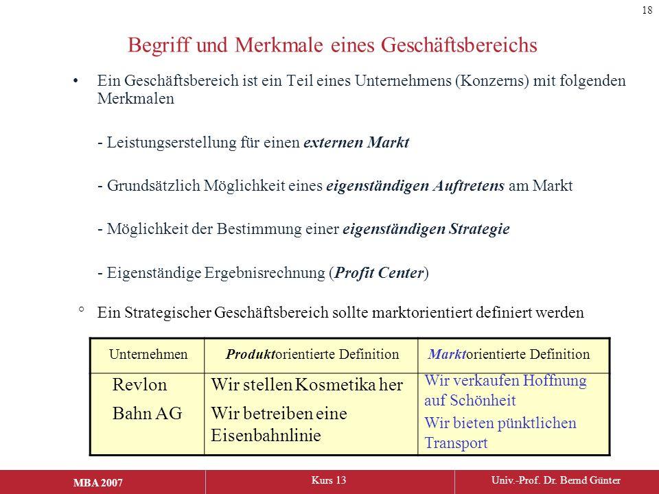 MBA 2006Kurs 13Univ.-Prof. Dr. Bernd Günter MBA 2007 Begriff und Merkmale eines Geschäftsbereichs Ein Geschäftsbereich ist ein Teil eines Unternehmens