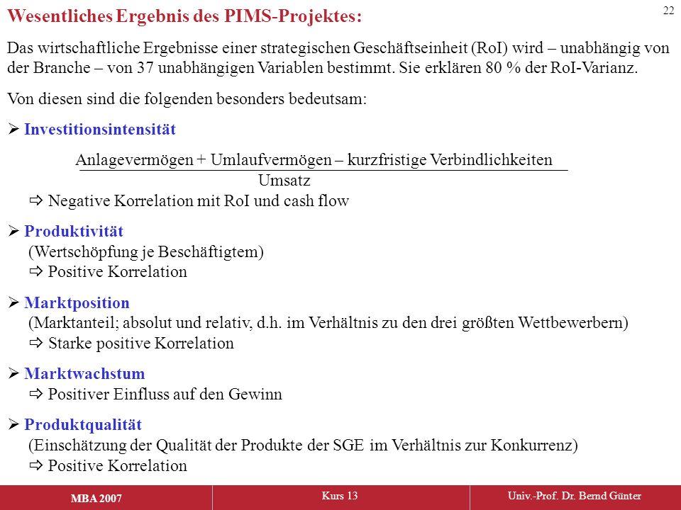 MBA 2006Kurs 13Univ.-Prof. Dr. Bernd Günter MBA 2007 Wesentliches Ergebnis des PIMS-Projektes: Das wirtschaftliche Ergebnisse einer strategischen Gesc