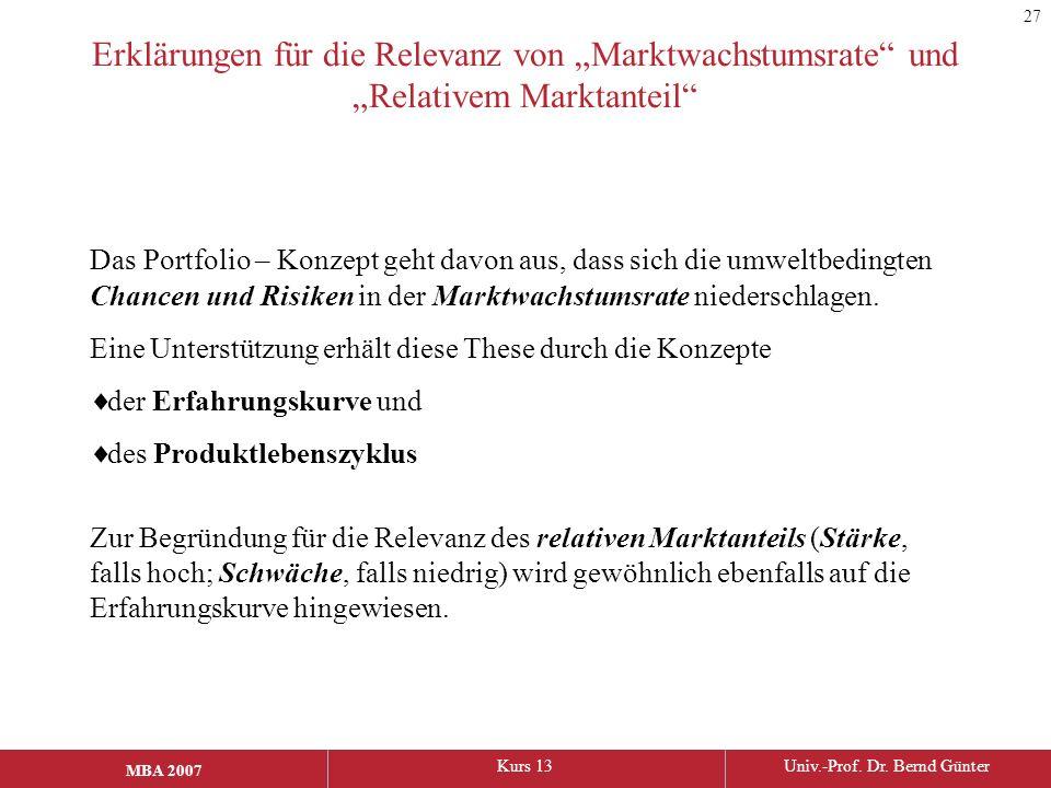 """MBA 2006Kurs 13Univ.-Prof. Dr. Bernd Günter MBA 2007 Erklärungen für die Relevanz von """"Marktwachstumsrate"""" und """"Relativem Marktanteil"""" Das Portfolio –"""