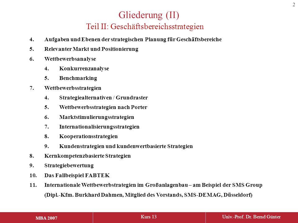 MBA 2006Kurs 13Univ.-Prof. Dr. Bernd Günter MBA 2007 Gliederung (II) 4.Aufgaben und Ebenen der strategischen Planung für Geschäftsbereiche 5.Relevante