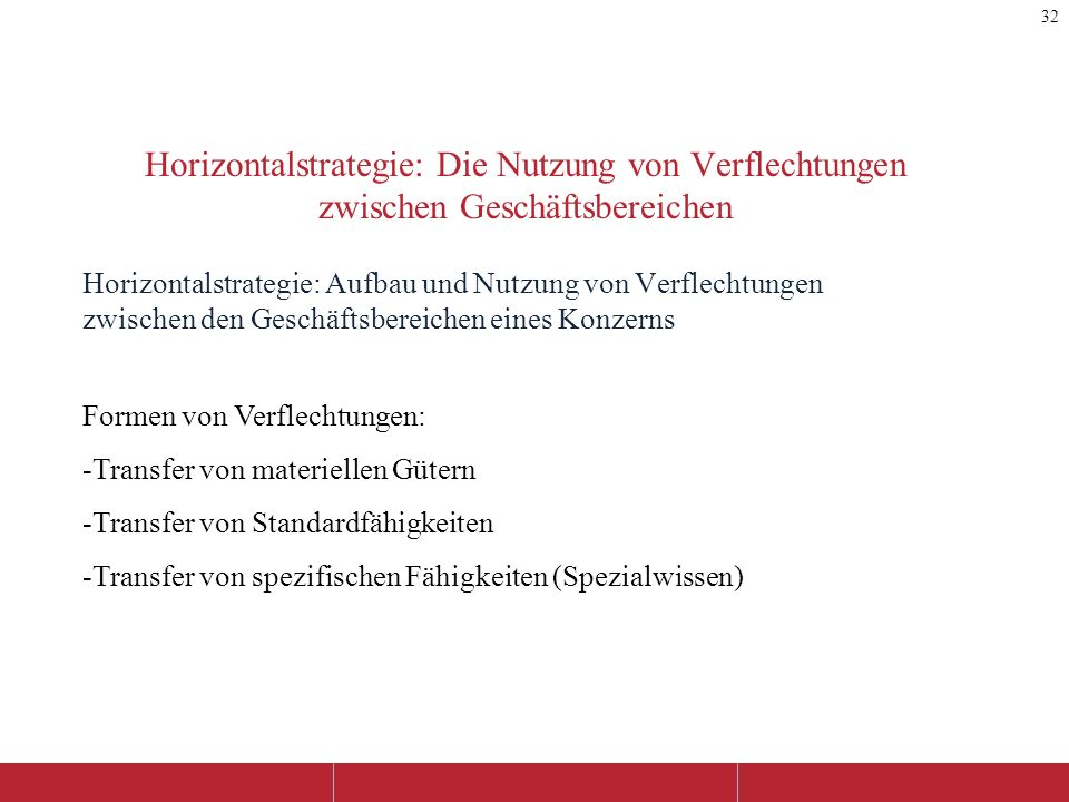 Horizontalstrategie: Die Nutzung von Verflechtungen zwischen Geschäftsbereichen Horizontalstrategie: Aufbau und Nutzung von Verflechtungen zwischen de