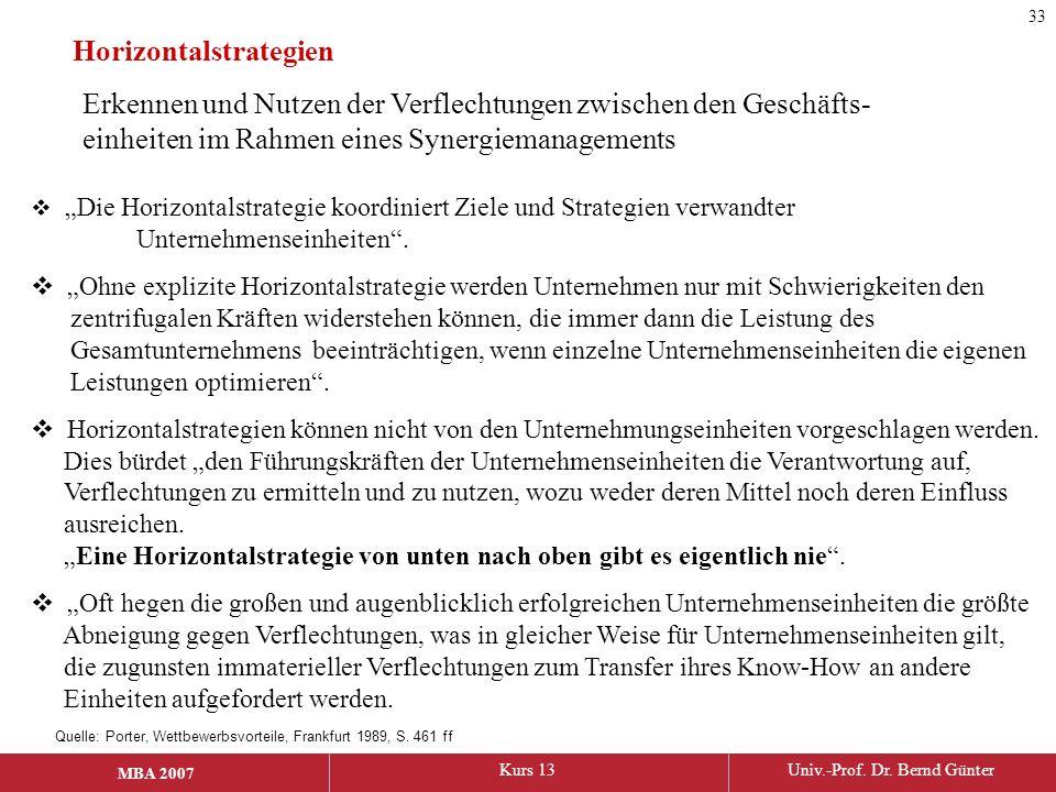 """MBA 2006Kurs 13Univ.-Prof. Dr. Bernd Günter MBA 2007 Horizontalstrategien  """"Die Horizontalstrategie koordiniert Ziele und Strategien verwandter Unter"""