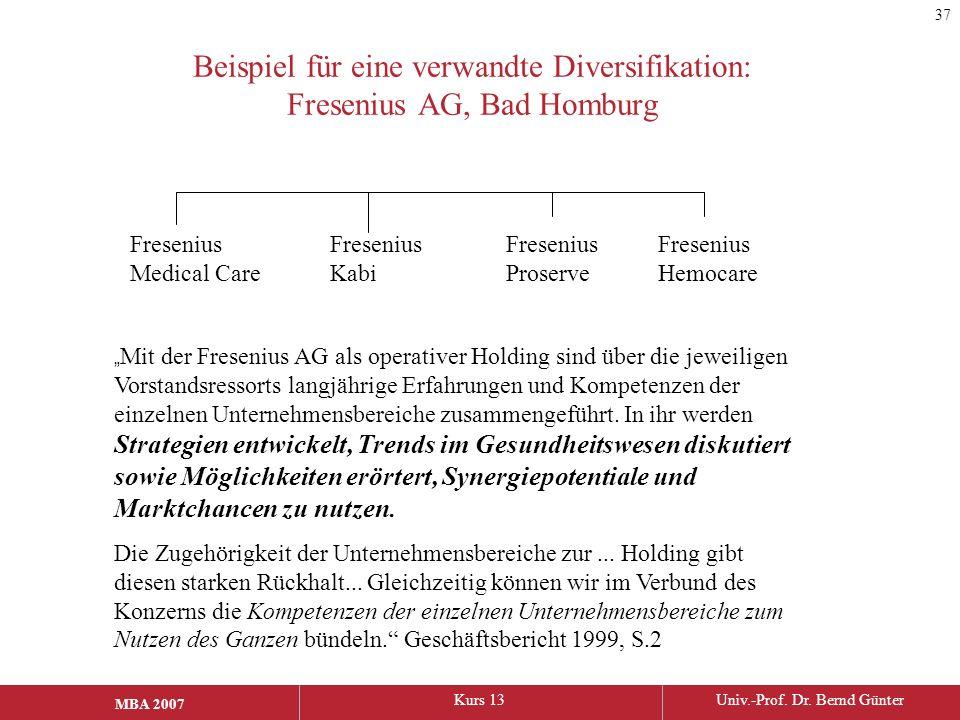 """MBA 2006Kurs 13Univ.-Prof. Dr. Bernd Günter MBA 2007 Beispiel für eine verwandte Diversifikation: Fresenius AG, Bad Homburg """" Mit der Fresenius AG als"""