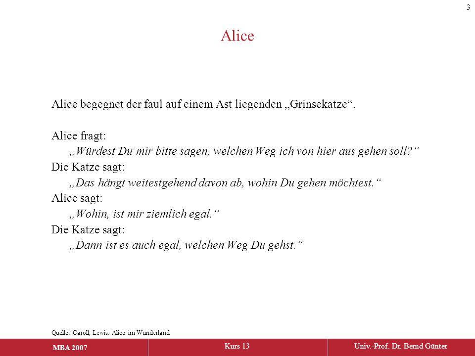 """MBA 2006Kurs 13Univ.-Prof. Dr. Bernd Günter MBA 2007 Alice Alice begegnet der faul auf einem Ast liegenden """"Grinsekatze"""". Alice fragt: """"Würdest Du mir"""