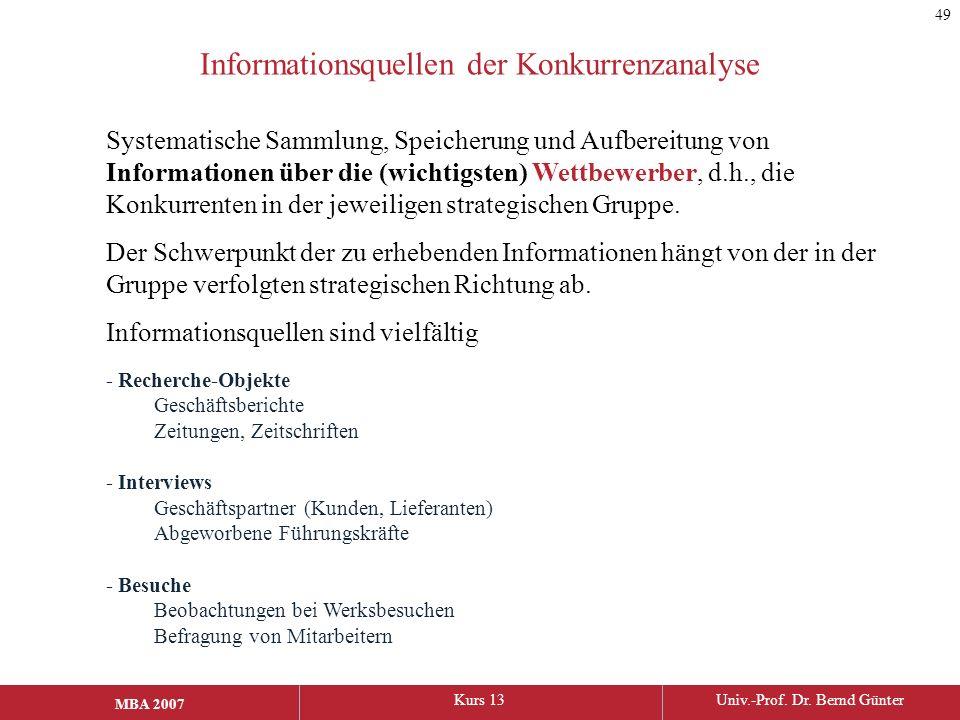 MBA 2006Kurs 13Univ.-Prof. Dr. Bernd Günter MBA 2007 Informationsquellen der Konkurrenzanalyse Systematische Sammlung, Speicherung und Aufbereitung vo
