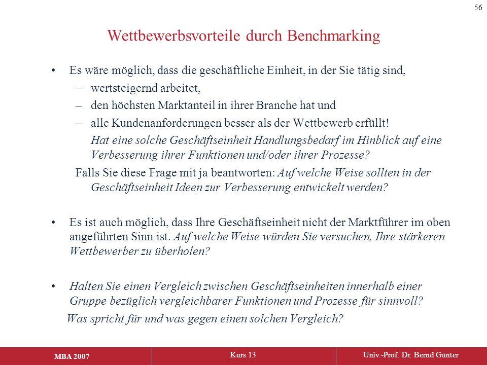 MBA 2006Kurs 13Univ.-Prof. Dr. Bernd Günter MBA 2007 Wettbewerbsvorteile durch Benchmarking Es wäre möglich, dass die geschäftliche Einheit, in der Si