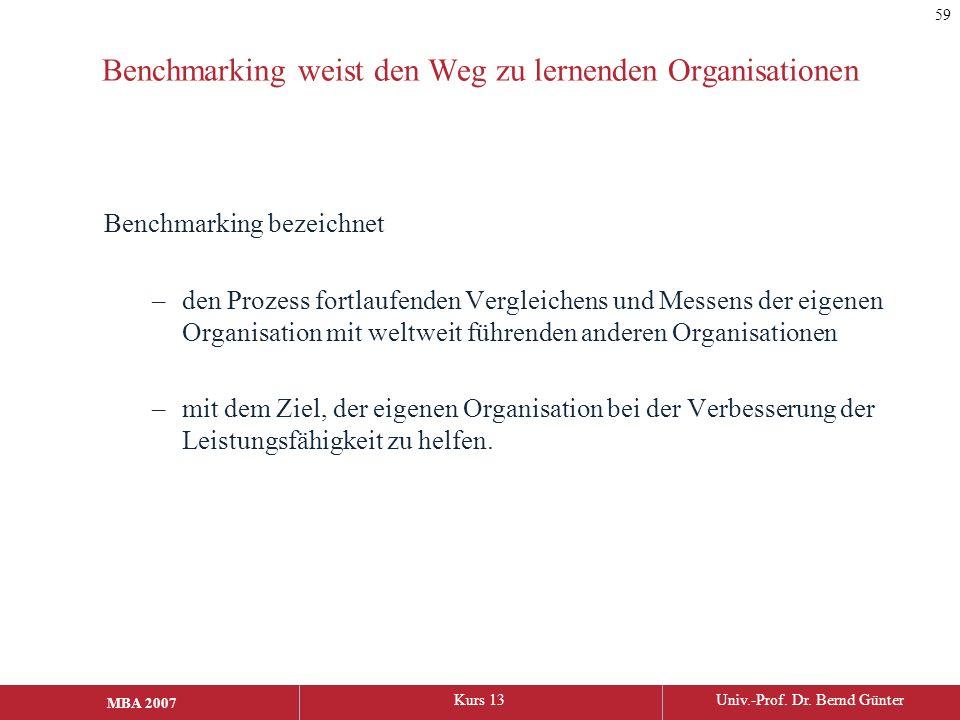 MBA 2006Kurs 13Univ.-Prof. Dr. Bernd Günter MBA 2007 Benchmarking weist den Weg zu lernenden Organisationen Benchmarking bezeichnet –den Prozess fortl