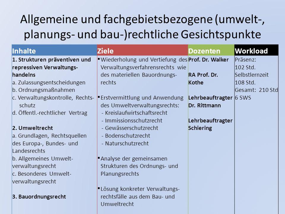 Allgemeine und fachgebietsbezogene (umwelt-, planungs- und bau-)rechtliche Gesichtspunkte InhalteZieleDozentenWorkload 1. Strukturen präventiven und r