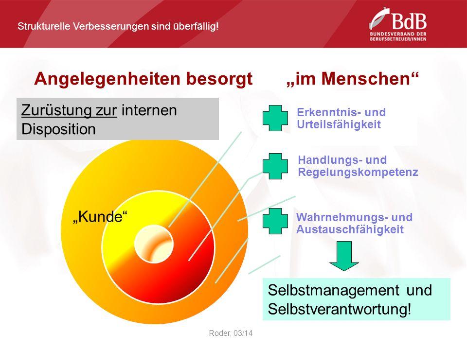 Roder, 03/14 Erkenntnis- und Urteilsfähigkeit Handlungs- und Regelungskompetenz Wahrnehmungs- und Austauschfähigkeit Zurüstung zur internen Disposition Selbstmanagement und Selbstverantwortung.