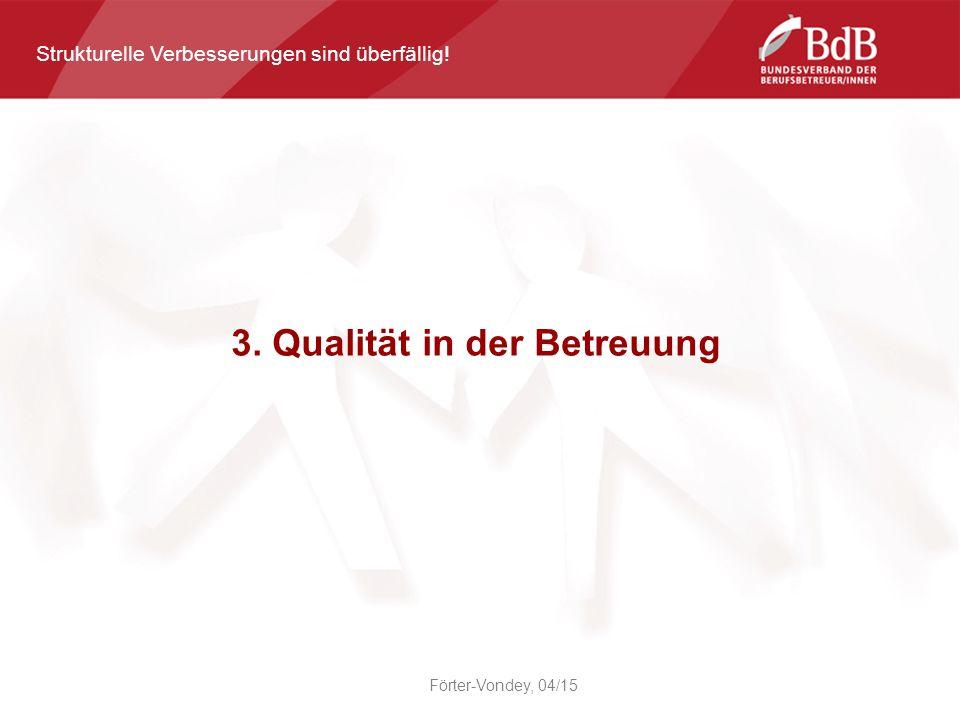 3. Qualität in der Betreuung Förter-Vondey, 04/15 Strukturelle Verbesserungen sind überfällig!