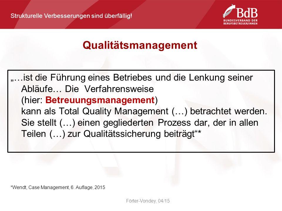 """""""…ist die Führung eines Betriebes und die Lenkung seiner Abläufe… Die Verfahrensweise (hier: Betreuungsmanagement) kann als Total Quality Management (…) betrachtet werden."""