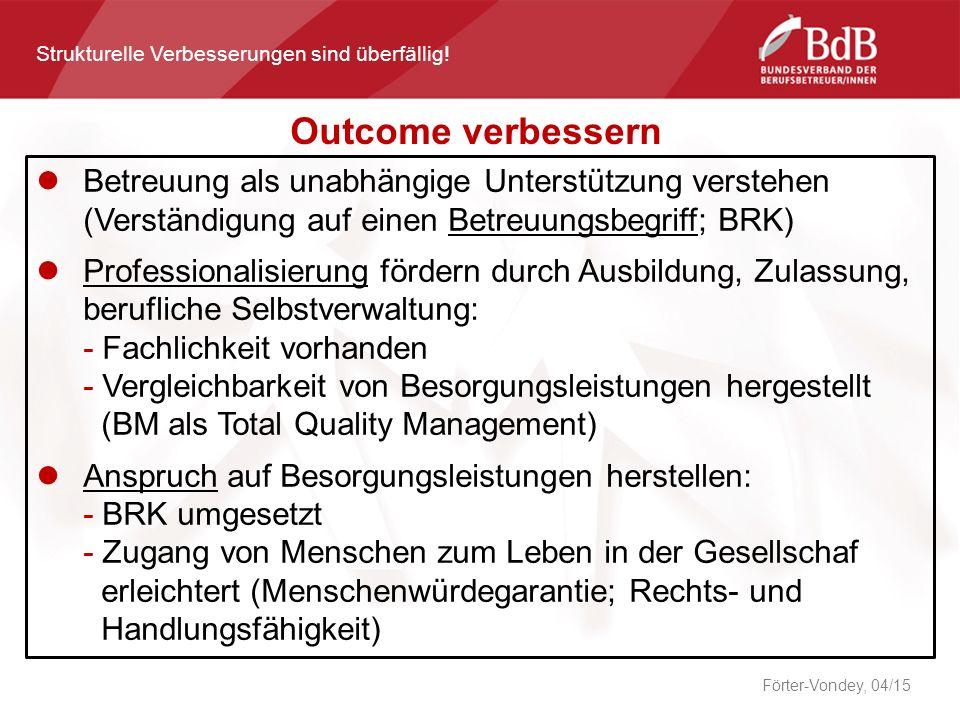 Förter-Vondey, 04/15 Outcome verbessern Strukturelle Verbesserungen sind überfällig.