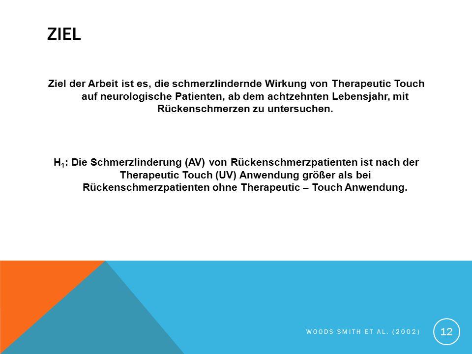 ZIEL Ziel der Arbeit ist es, die schmerzlindernde Wirkung von Therapeutic Touch auf neurologische Patienten, ab dem achtzehnten Lebensjahr, mit Rücken