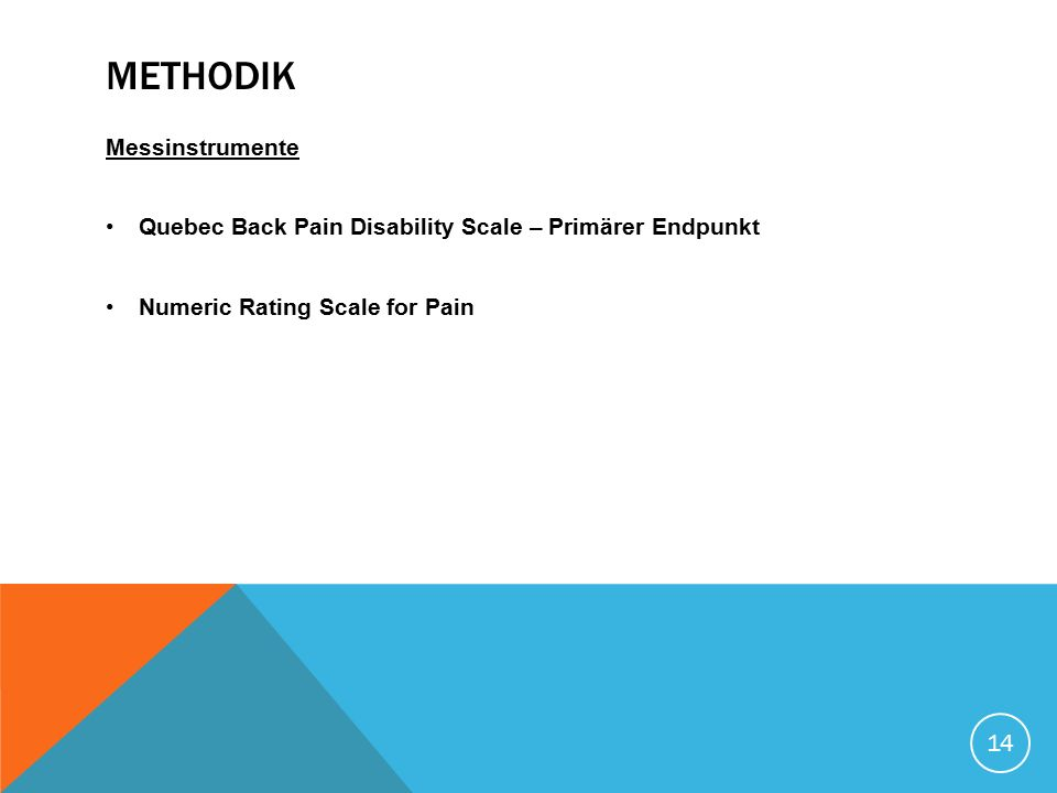 METHODIK Messinstrumente Quebec Back Pain Disability Scale – Primärer Endpunkt Numeric Rating Scale for Pain 14