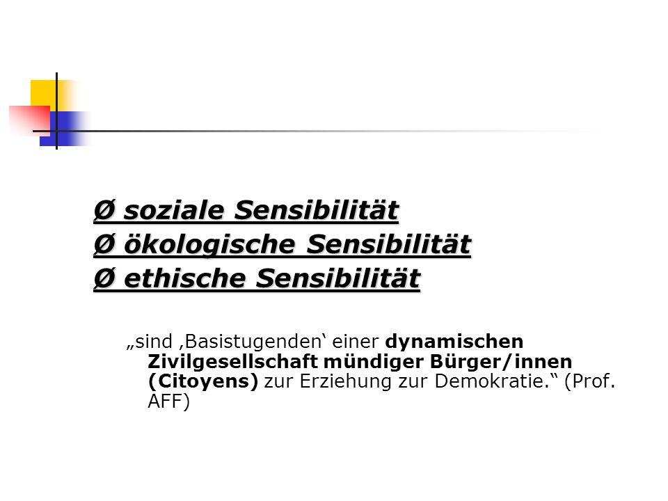 """Ø soziale Sensibilität Ø ökologische Sensibilität Ø ethische Sensibilität """"sind 'Basistugenden' einer dynamischen Zivilgesellschaft mündiger Bürger/innen (Citoyens) zur Erziehung zur Demokratie. (Prof."""