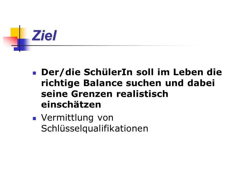Ziel Der/die SchülerIn soll im Leben die richtige Balance suchen und dabei seine Grenzen realistisch einschätzen Vermittlung von Schlüsselqualifikationen