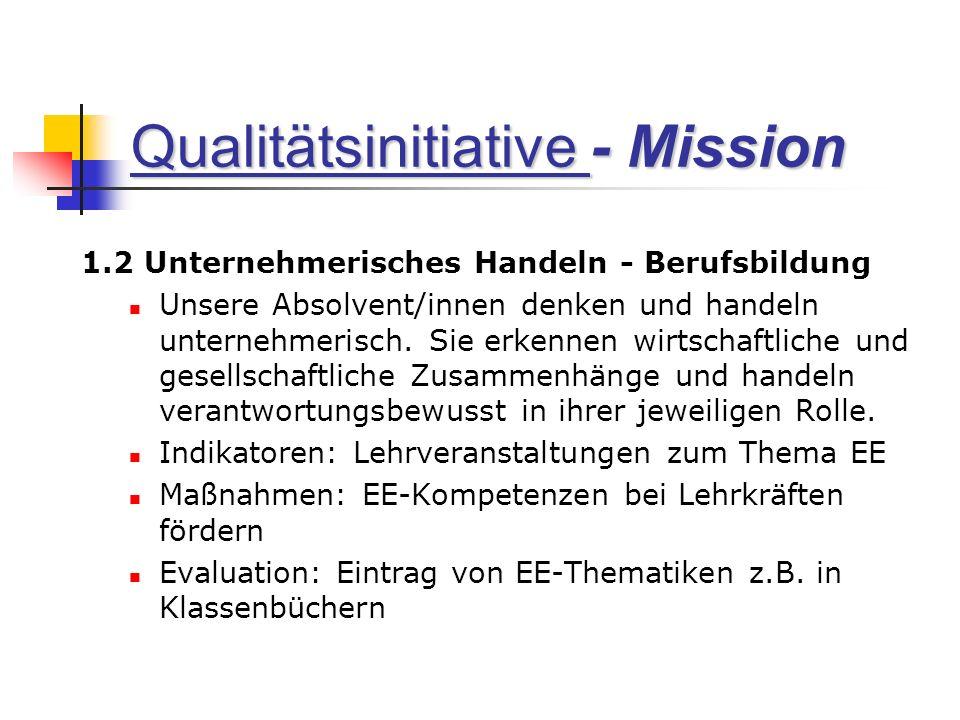 Qualitätsinitiative - Mission 1.2 Unternehmerisches Handeln - Berufsbildung Unsere Absolvent/innen denken und handeln unternehmerisch.